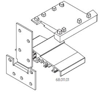 Соединитель, для дверных порогов высотой 20 мм с открыванием двери наружу